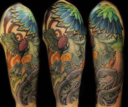 Picchio verde,green bird sleeve Tattoo Design