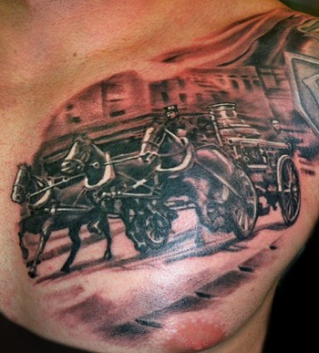 Looking for unique Black and Gray tattoos Tattoos?  Steam fire engine