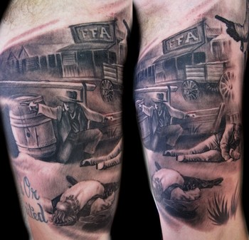Looking for unique Luca Natalini Tattoos?  western shootout