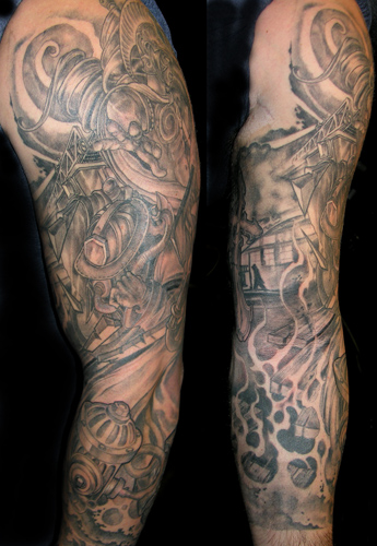 Looking for unique  Tattoos? Firefighter sleeve