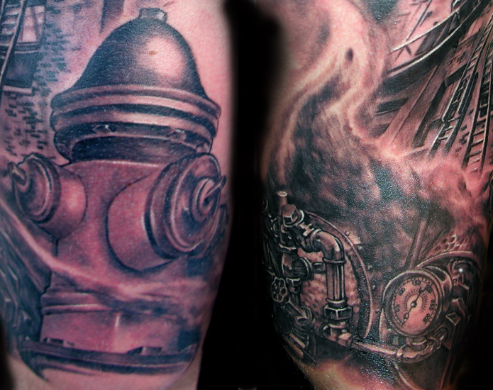 firefighter half sleeve detail by luca natalini tattoonow. Black Bedroom Furniture Sets. Home Design Ideas