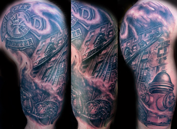 firefighter half sleeve by luca natalini tattoonow. Black Bedroom Furniture Sets. Home Design Ideas