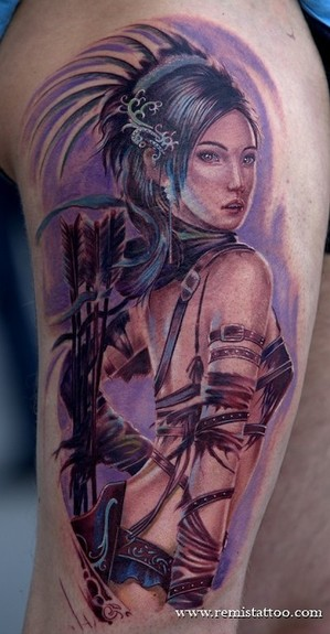 Fantasy art woman warrior tattoo for Tattoo donne guerriere