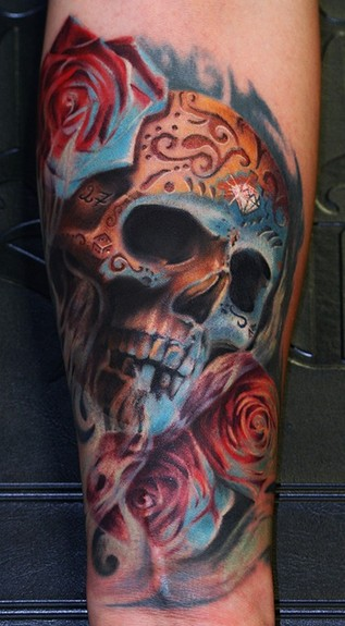 mexican skull tattoo. Mexican day of the dead skull