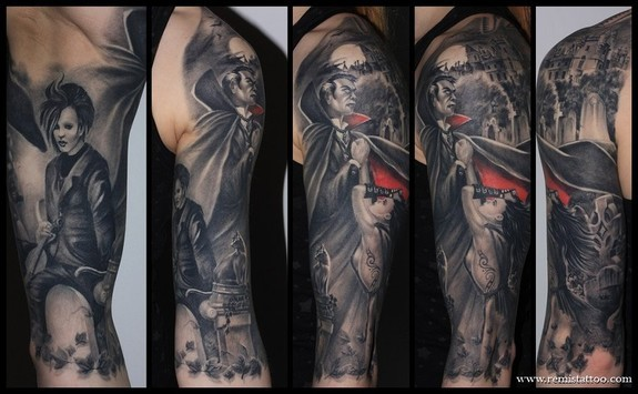 Tattoos - Vampire half sleeve tattoo - 51145