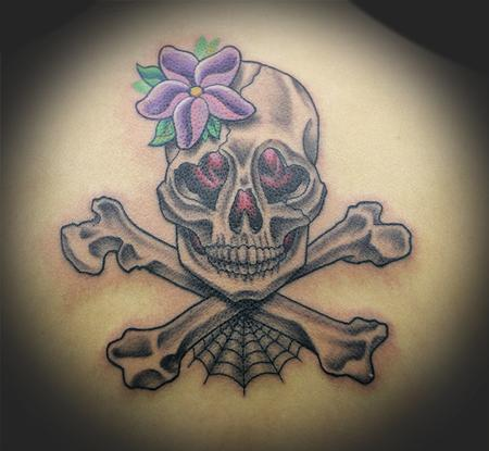 Girly skull and crossbones by james rowe tattoonow for Skull and crossbones tattoo
