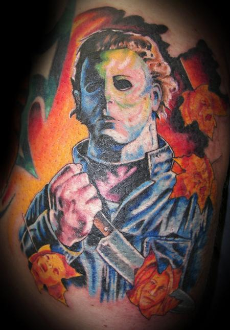 Michael myers color portrait tattoos for Michael myers tattoo