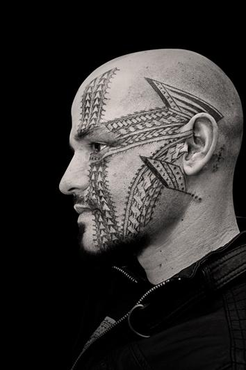 Black Work Face Tattoo Tattoo Design