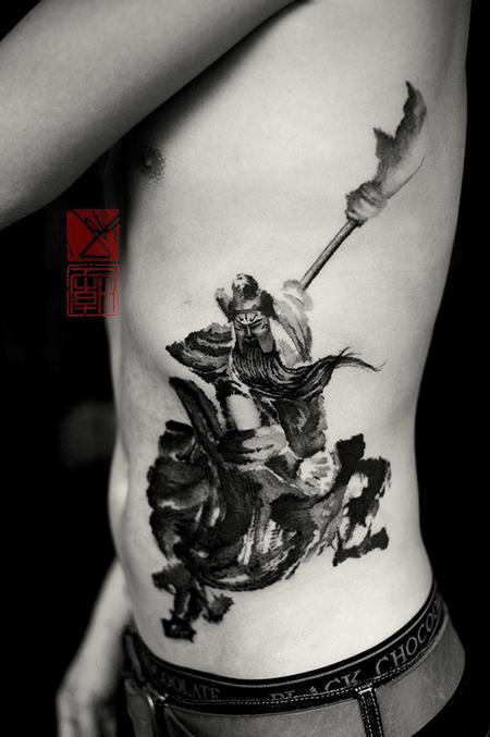 Tattoos - Neo-Traditional Warrior Rib Tattoo - 115796