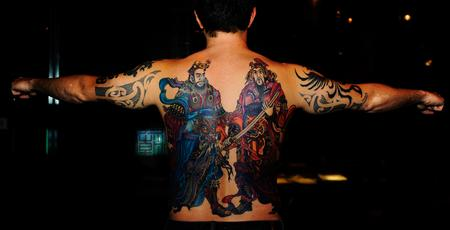 Tattoos - Color Temple Guardians Back Tattoo - 115803