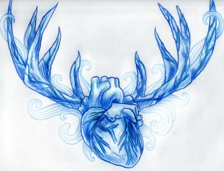 John Garancheski III - Blue Sketchbook Anatomical Heart with Deer Antlers Tattoo Concept