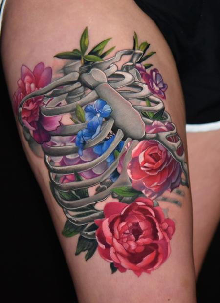 Floral Ribcage Tattoo Design by Danny Elliott