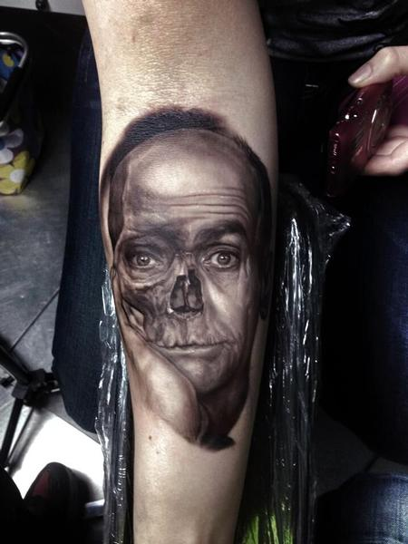 Tattoos - Louis De Funes Skull Tattoo - 115688