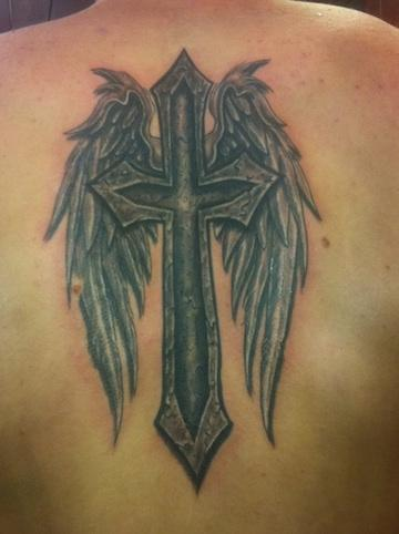 stone cross and wings Tattoo Design