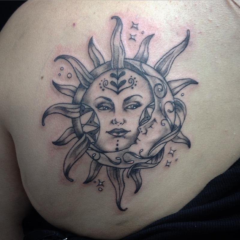 Sun crescent moon by abbey saunders tattoonow for Sun moon tattoo