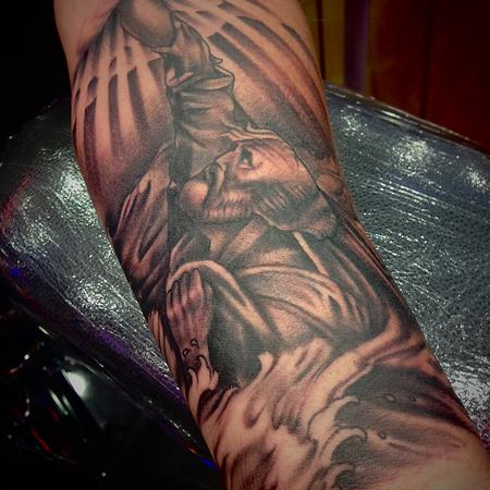 Black and Grey Religious Forearm piece, St. Peter. Design Thumbnail