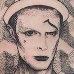 Blackwork David Bowie Tattoo Design Thumbnail