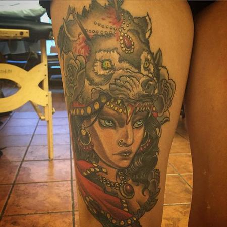 Tattoos - Gypsy Wolf Head - 112030