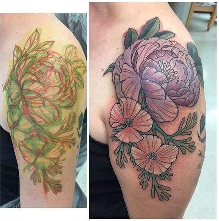 Tattoos - Peony & Poppies - 110182
