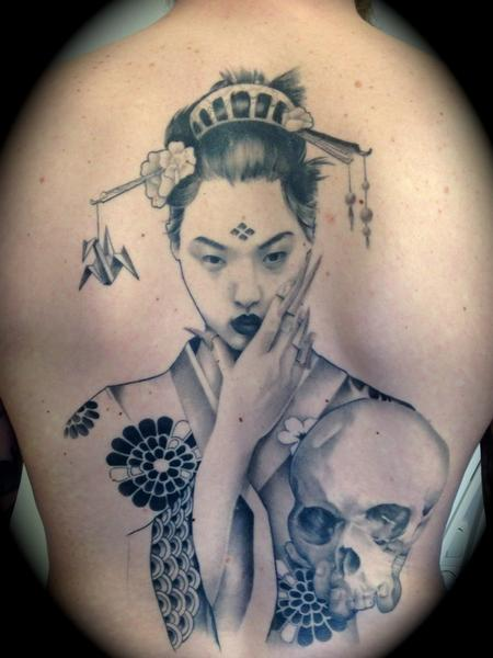 Geisha Back with Skull Tattoo Design Thumbnail
