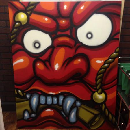Anthony Ortega - jananese demon with spraypaint
