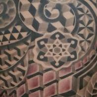 Tattoos - black and grey sacred geometry backpiece - 93713
