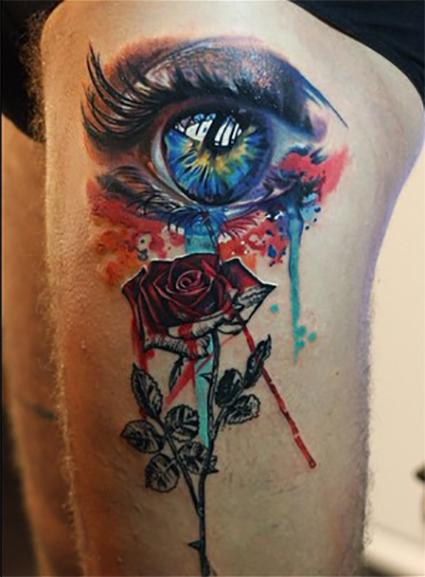 eye and rose, antonio proietti, Camdentown tattoo Design Thumbnail