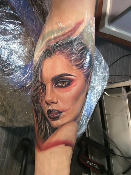 Tattoos - Woman portrait tattoo,  - 112367