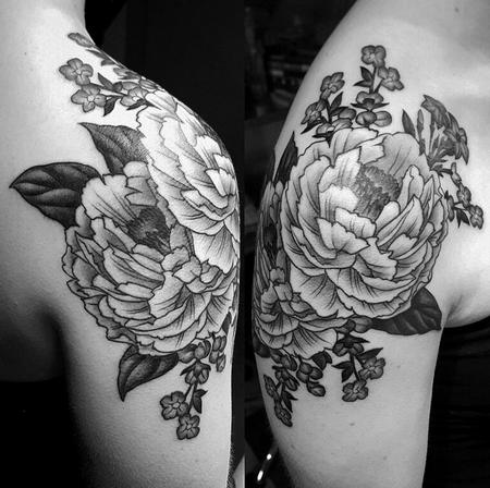 Audi - Black and grey peony shoulder tattoo