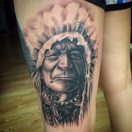 Native American portrait Tattoo Design Thumbnail