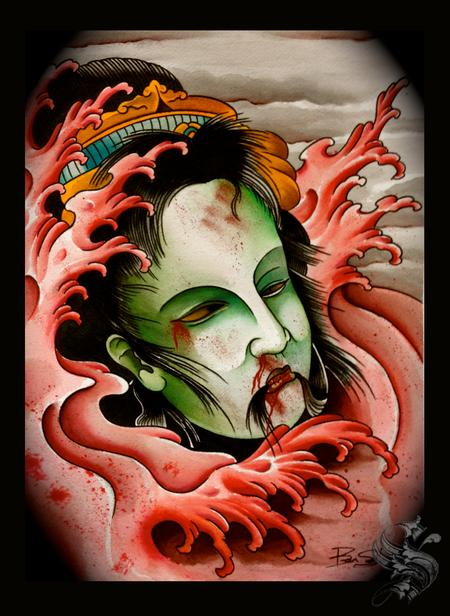 Tattoos - Watercolor Severed Head - 96277