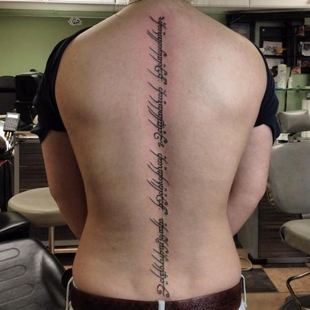 LOTR - Elvish tattoo down spine Design Thumbnail
