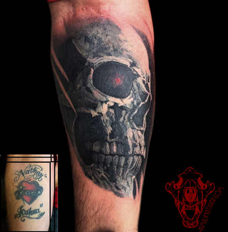 Tattoos - Painterly Skull Coverup - 122159