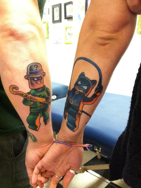 Lego Batman Couples Tattoo Catwoman Riddler Design Thumbnail