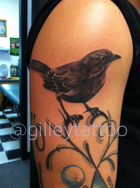 realistic black and grey bird tattoo Design Thumbnail