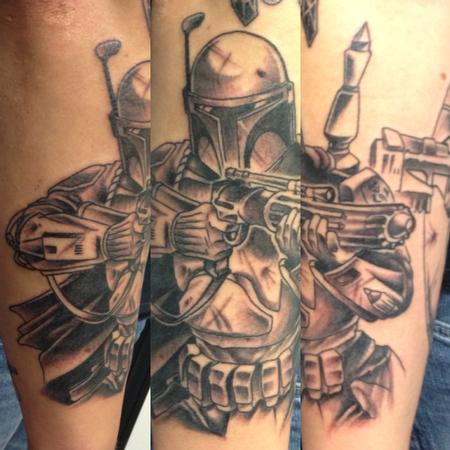 Tattoos - Black and Grey Boba Fett - 115902