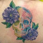 Skull/Sugar Skull Flowers Tattoo Design Thumbnail