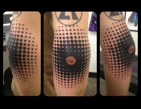 Tattoos - Halftone Blackwork Elbow Cap - 101839