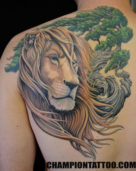Lion and Bonzai Tattoo Design Thumbnail