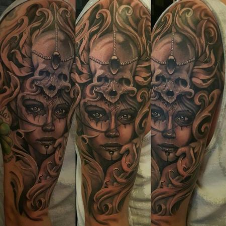 Tattoos - Black and Gray Portrait with skull - 121704
