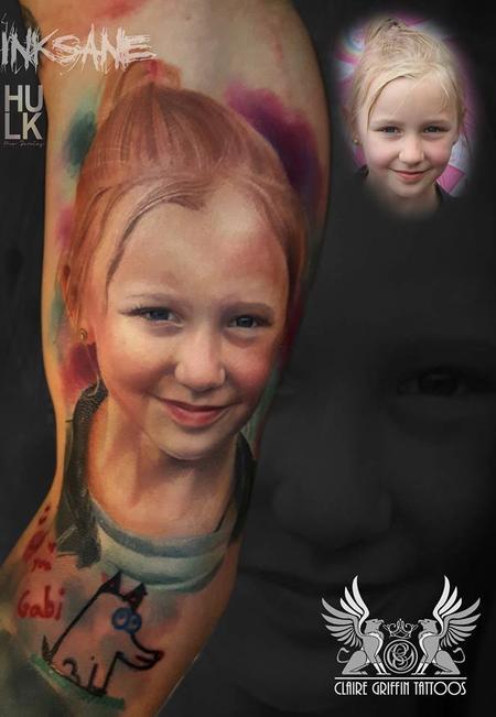 Little girl Colour Portrait Tattoo Tattoo Design Thumbnail