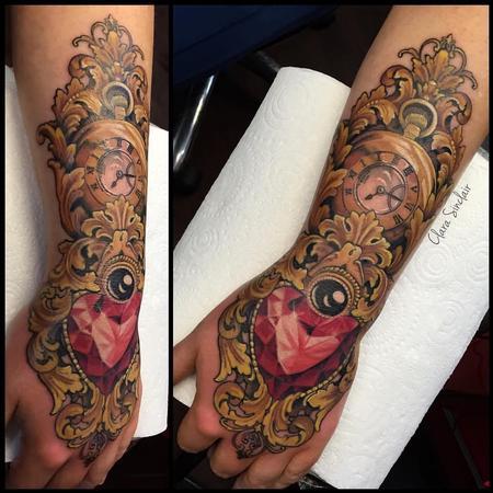 Tattoos - Ornamental Pocket watch and Heart Gem Stone - 125466