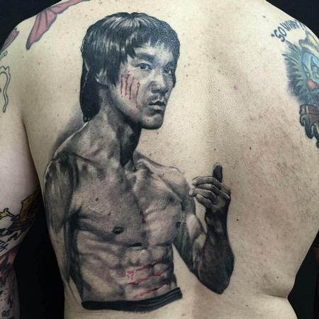 Tattoos - Black and Gray Bruce Lee Portrait Tattoo - 115615