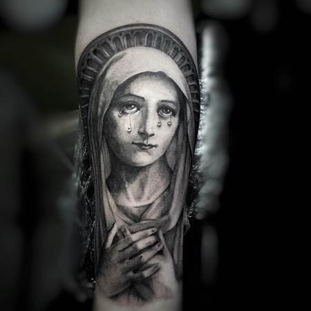 Tattoos - Black and Gray Virgin Mary Tattoo - 115616