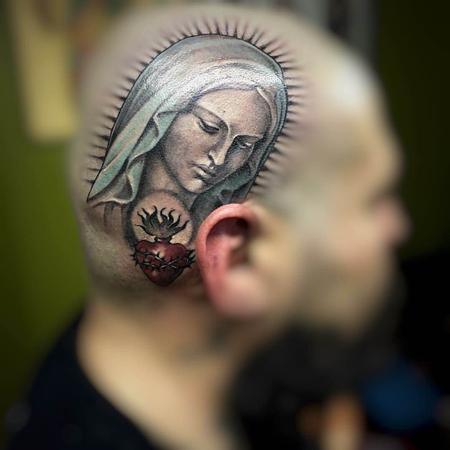Claudia Ferrarini - Virgin Mary Head Tattoo