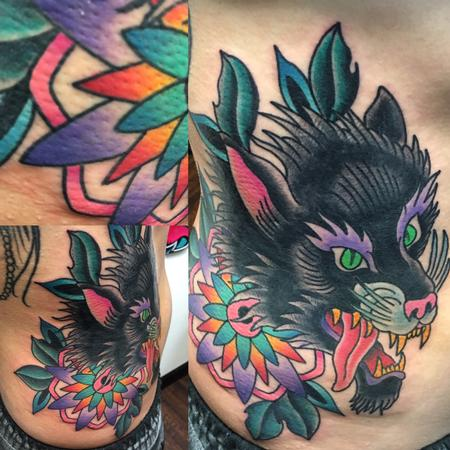 Tattoos - Wolf Head w Colorful Mandala - 120547