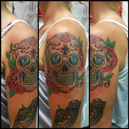 Tattoos - Sugar Skull w/ Roses - 120474