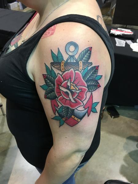 Tattoos - Anchor w/ Red Rose - 120486
