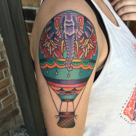 Tattoos - Elephant Hot Air Balloon - 120503