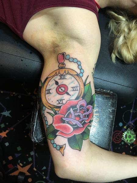 Tattoos - Pocket Watch w/ a Rose - 120567